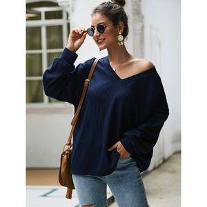 Waffle knit v neck sweater navy blue